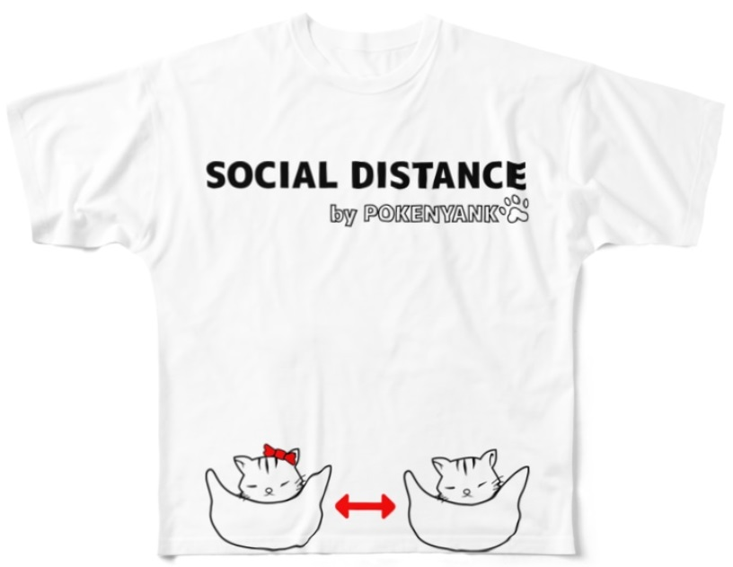 ソーシャルディスタンス猫Tシャツ