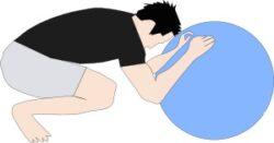 バランスボールで腹筋ローラー1
