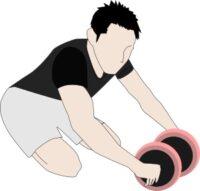 ダンベルで腹筋ローラー代用1