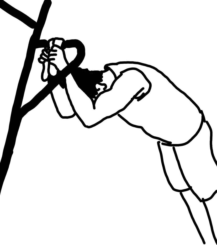 チンニングスタンドで上腕三頭筋長頭を鍛える方法2