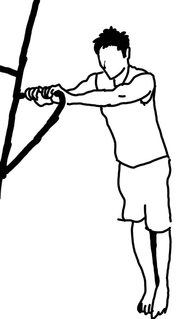 懸垂スタンドで上腕三頭筋外側頭を鍛える方法1